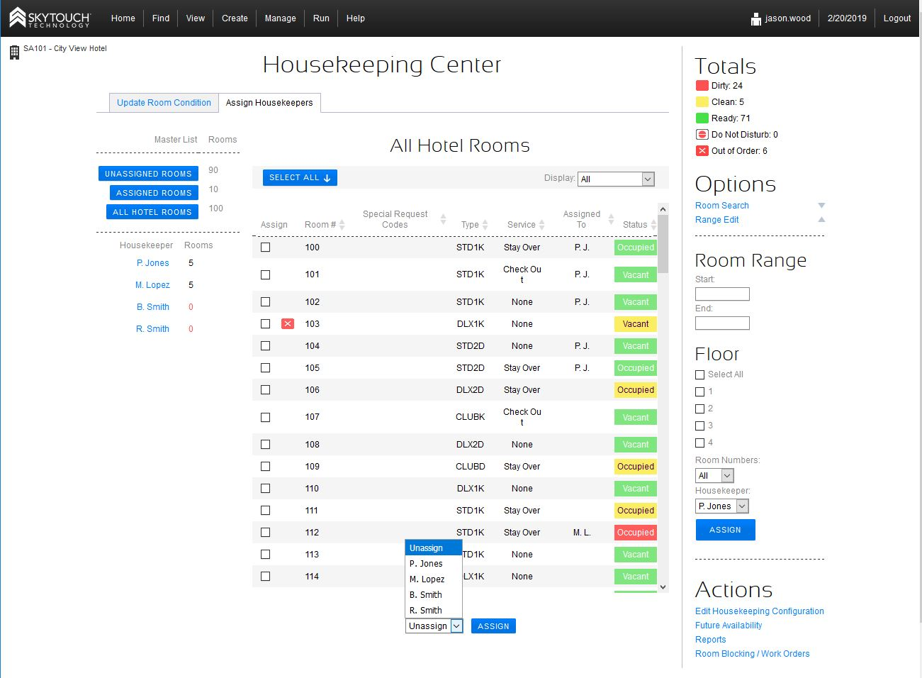 SkyTouch Hotel OS housekeeping management