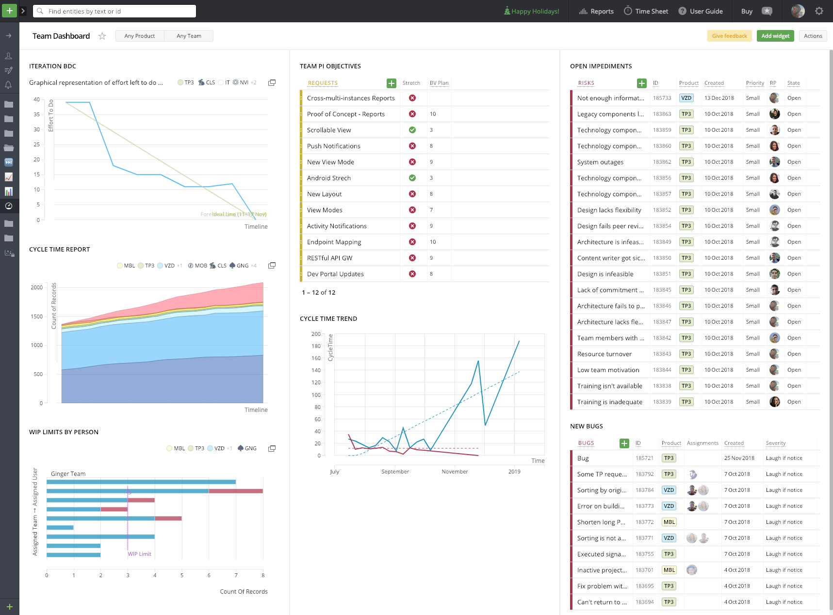 Targetprocess team dashboard