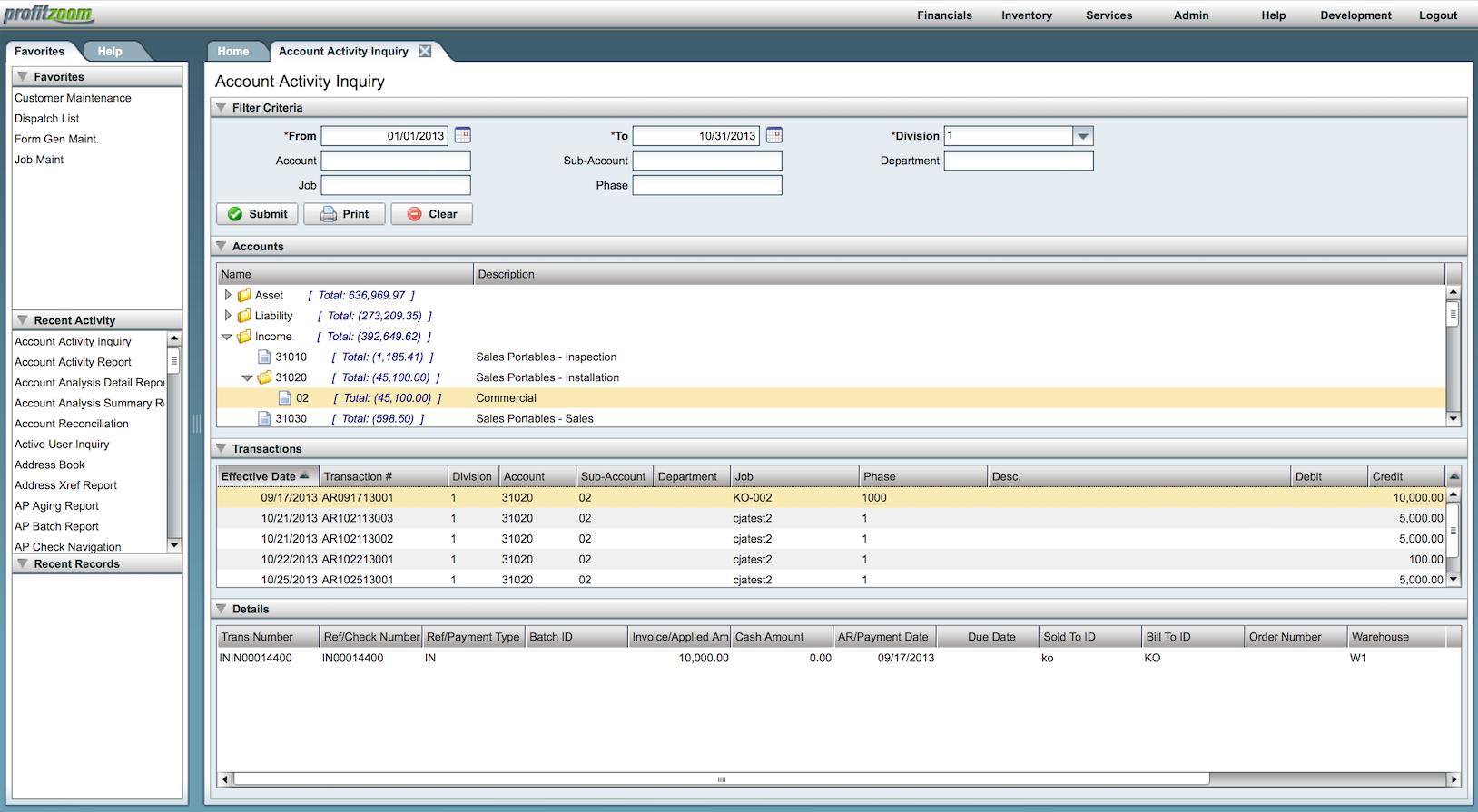 ProfitZoom Software - Account activity inquiry