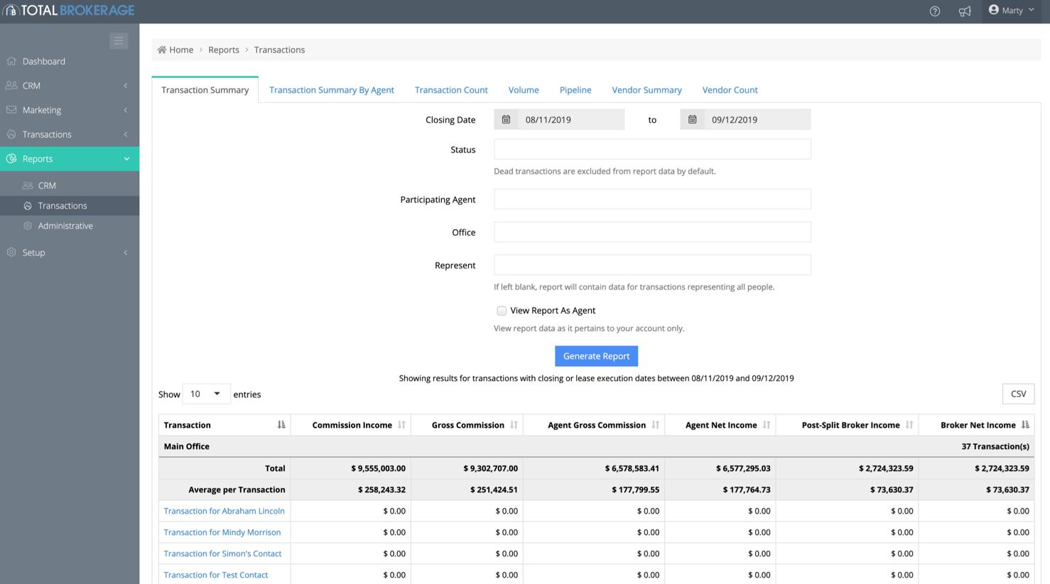 TotalBrokerage Software - TotalBrokerage transaction summary