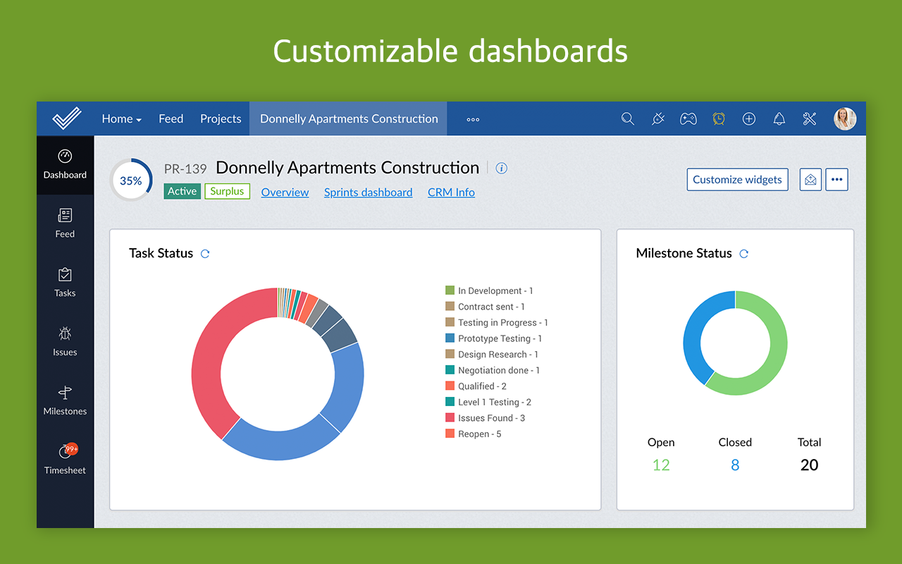 Zoho Projects Software - Zoho Projects dashboard screenshot