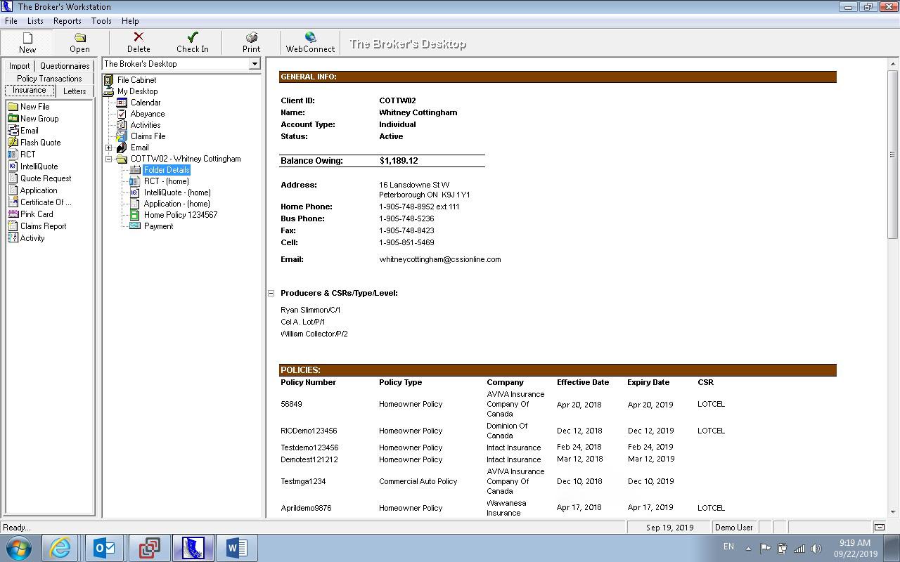 The Broker's Workstation folder details
