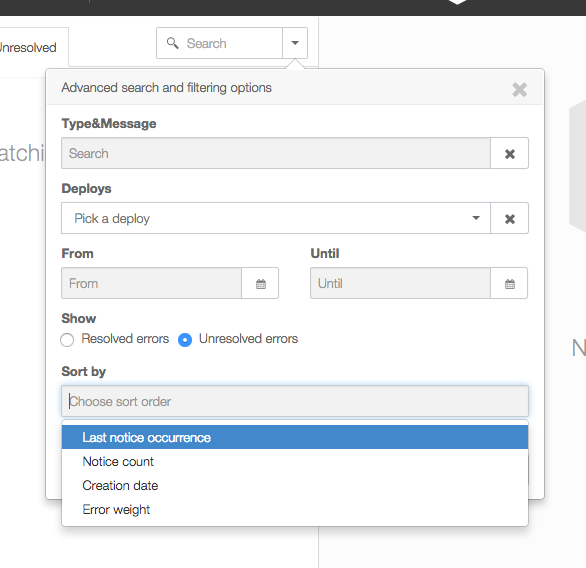 Airbrake allows errors to be sorted by last occurrence, creadtion date and error weight