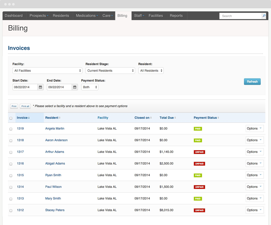With the billing feature, users can generate automated, itemized invoices directly from a resident's care plan