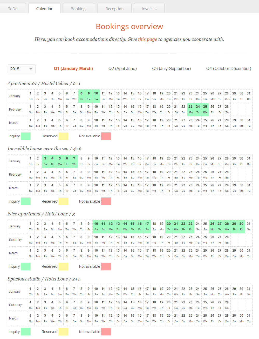 Reservation calendar