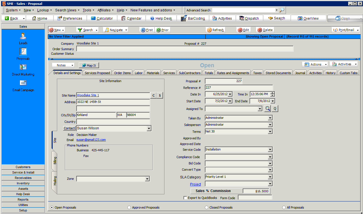 Service Management Enterprise screenshot: Users can organize individual contact names and telephone numbers related to a sales lead with SME Complete.