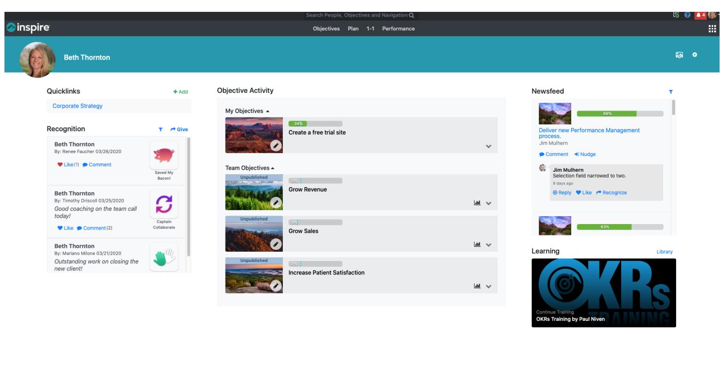 Inspire customizable home screen