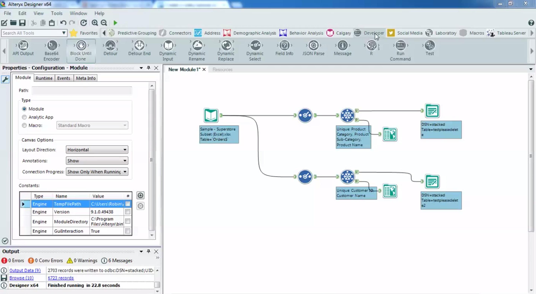 Analysis module configuration