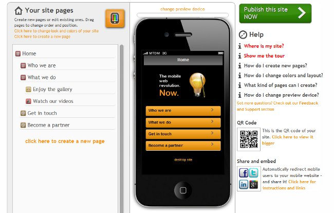 Our online CMS for easily and quickly building mobile websites