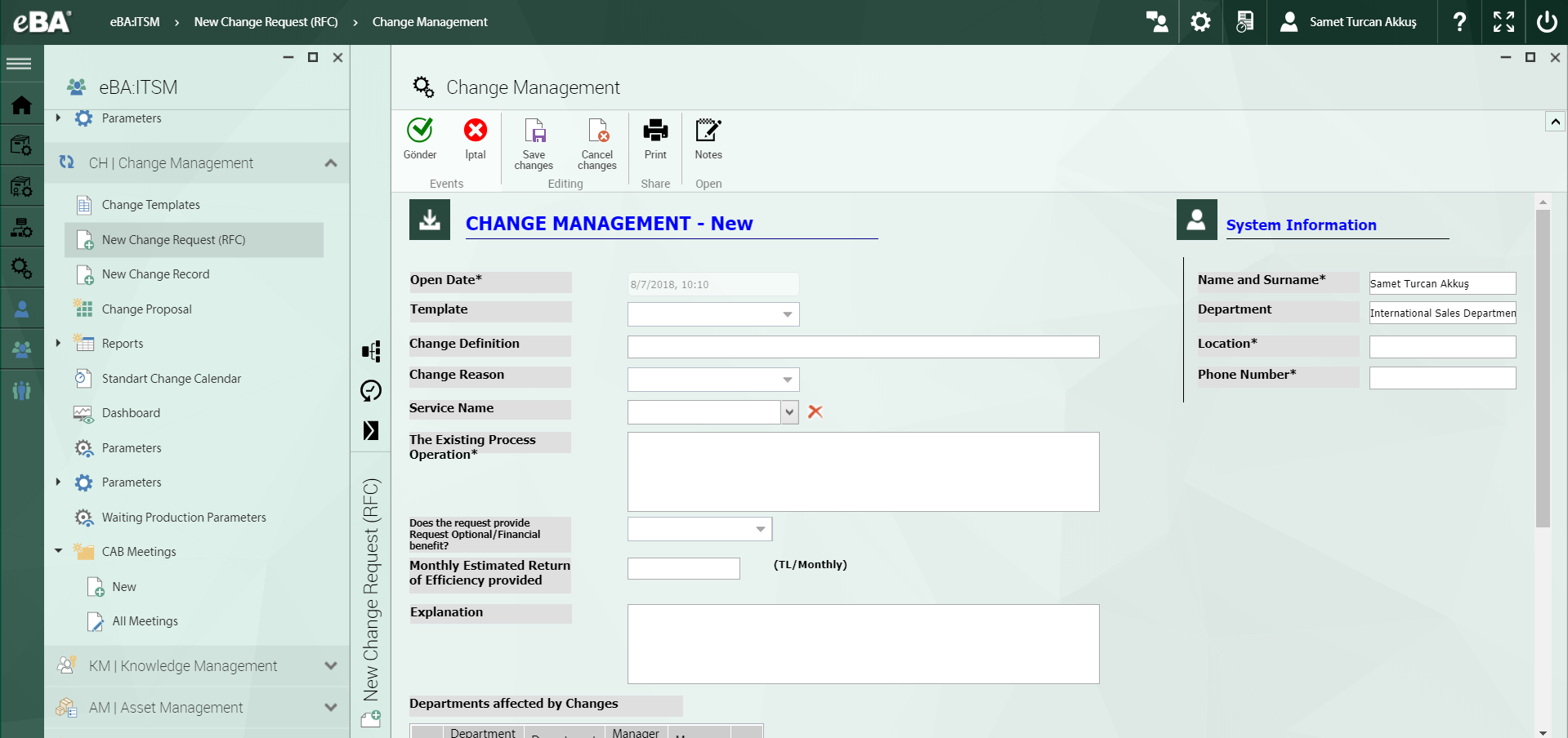 eBA ITSM Software - Change management