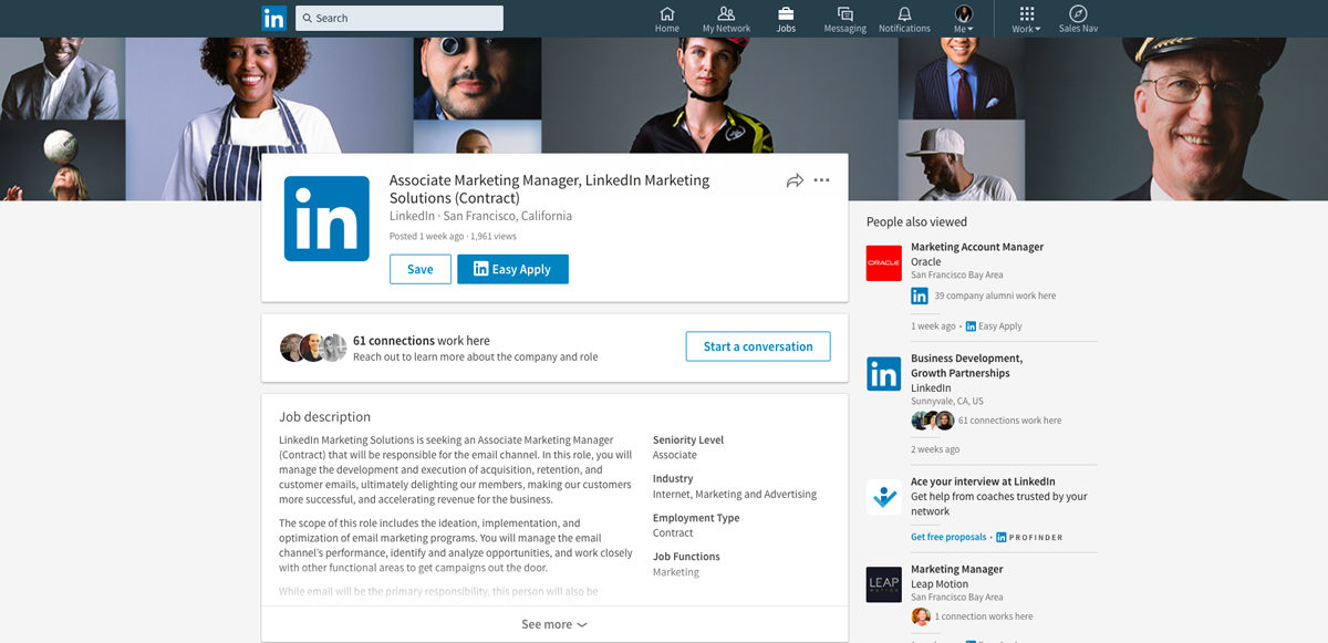 LinkedIn offers a one-click apply feature to submit your LinkedIn profile for the job opportunity