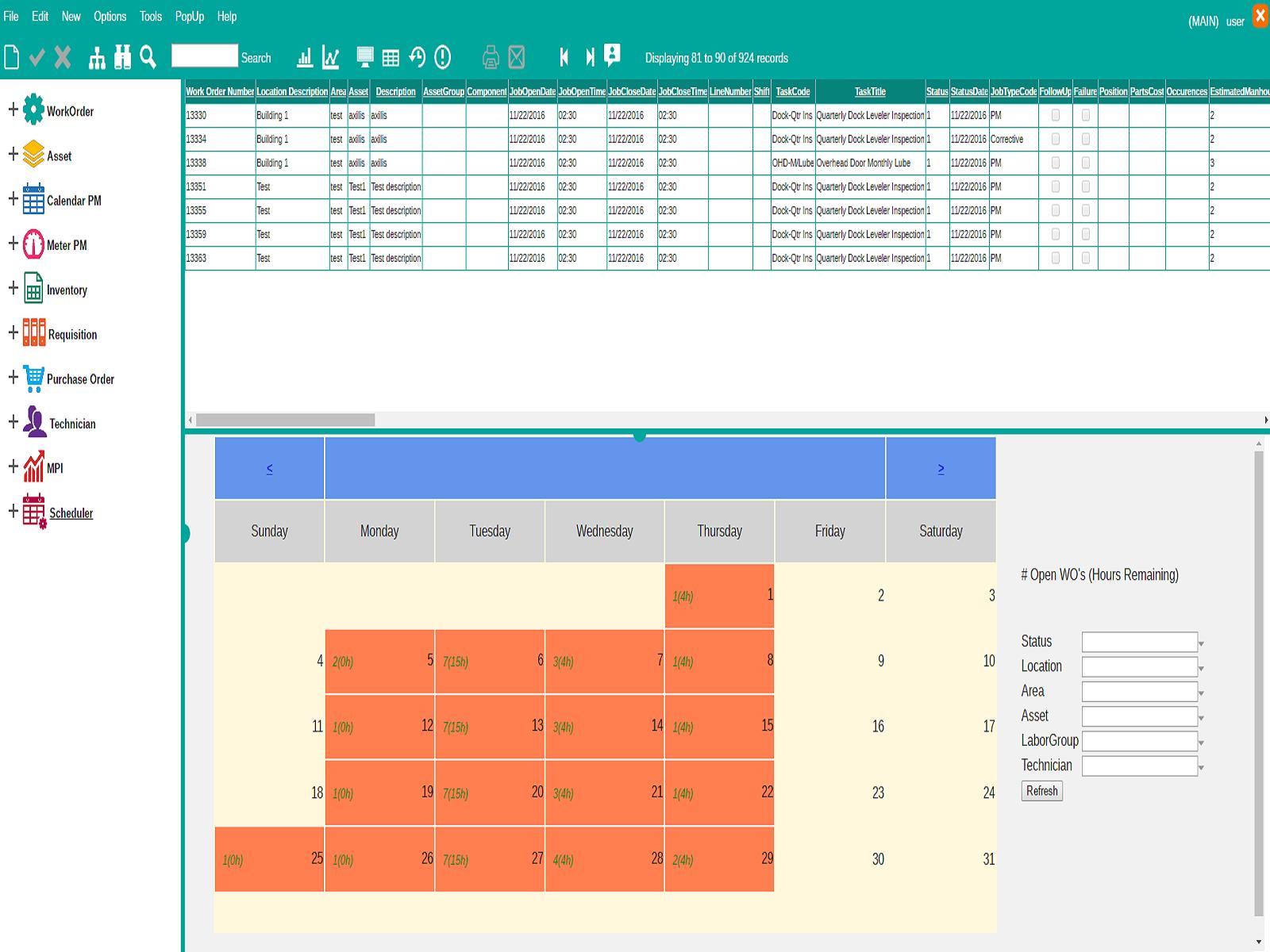 ePAC Software - Scheduler screen