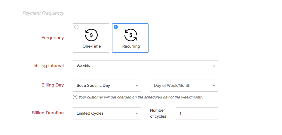 Zoho Checkout screenshot: Zoho Checkout gives users control over payment frequencies, billing intervals, dates, and durations