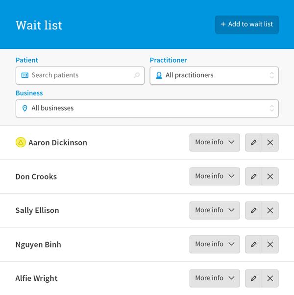 Cliniko waiting list
