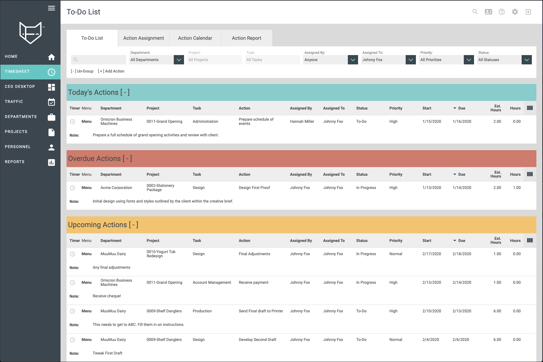 FunctionFox Software - To-Do list: actionable listings of your work assignments