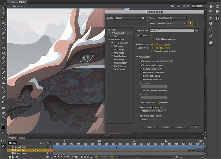Adobe Animate screenshot: Adobe Animate publish settings