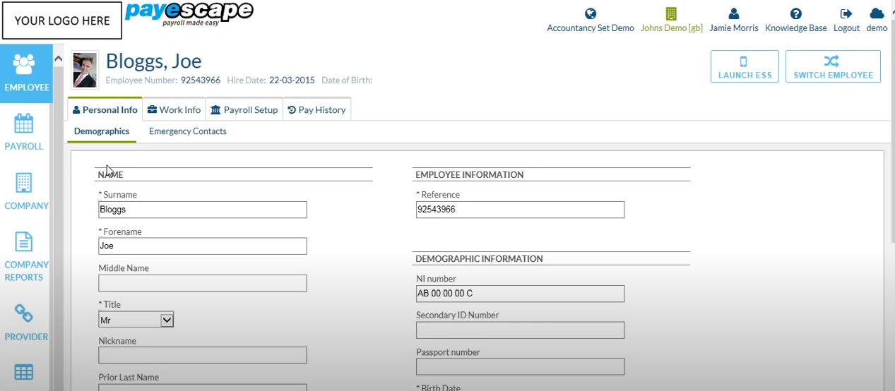 Payescape add employee data