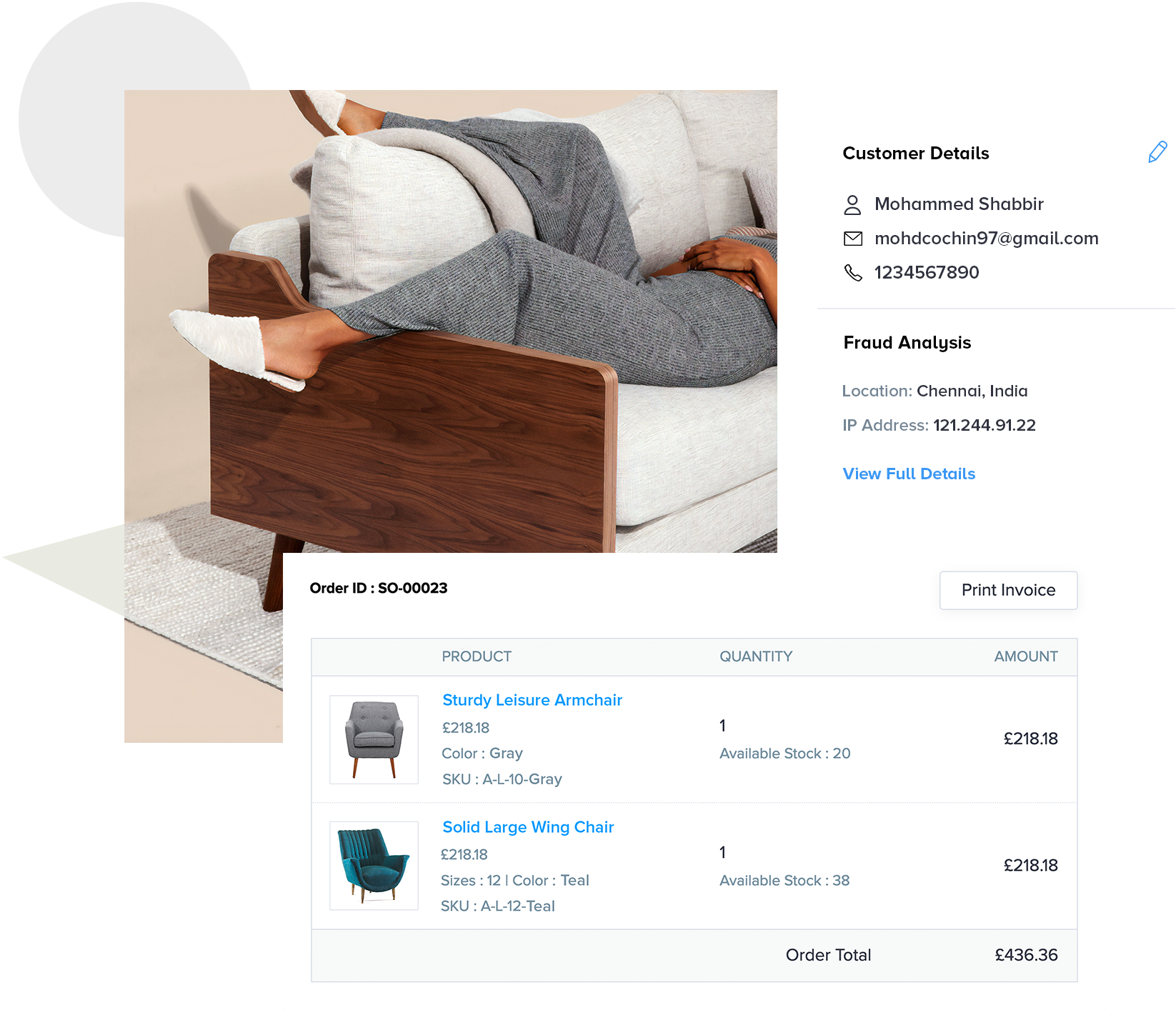 Zoho Commerce product page for furniture