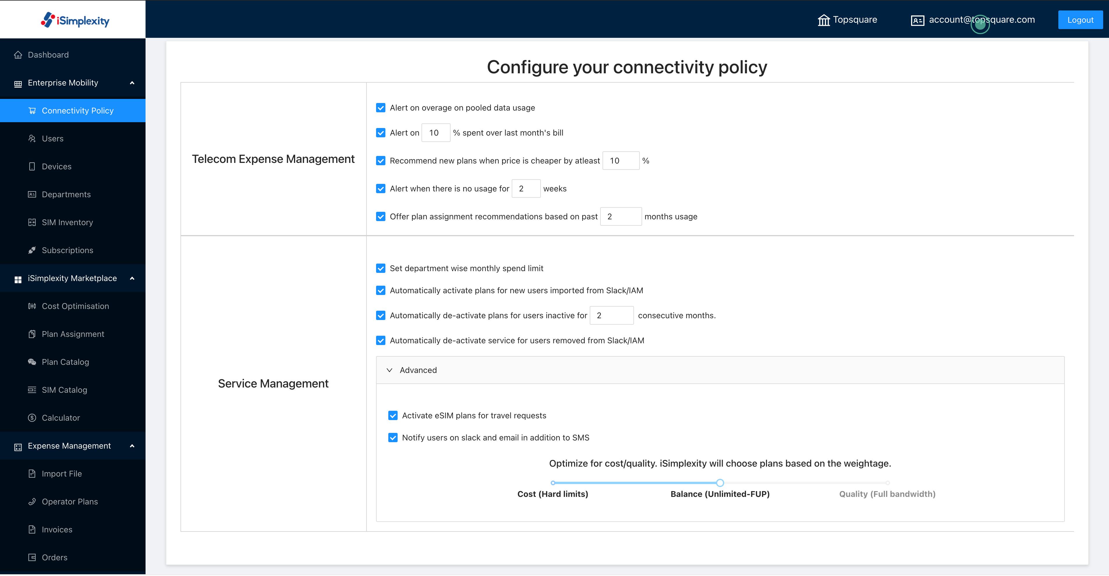 Set alerts and management policies/parameters