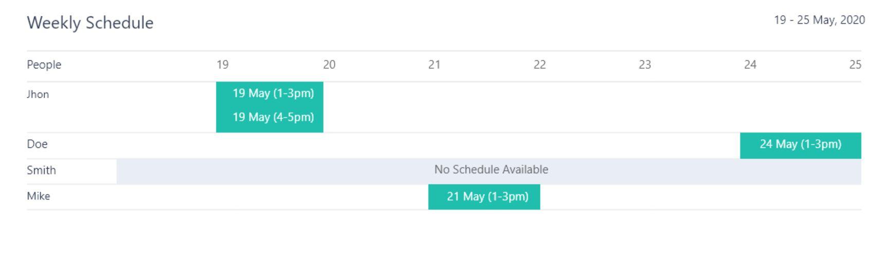 Apploye weekly schedule