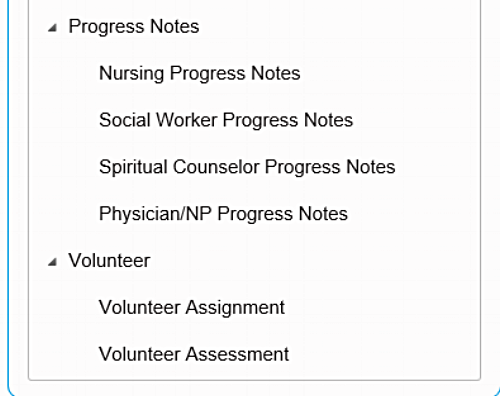 A range of different progress notes are available