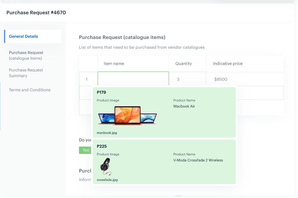 Kissflow Procurement Cloud product catalog screenshot