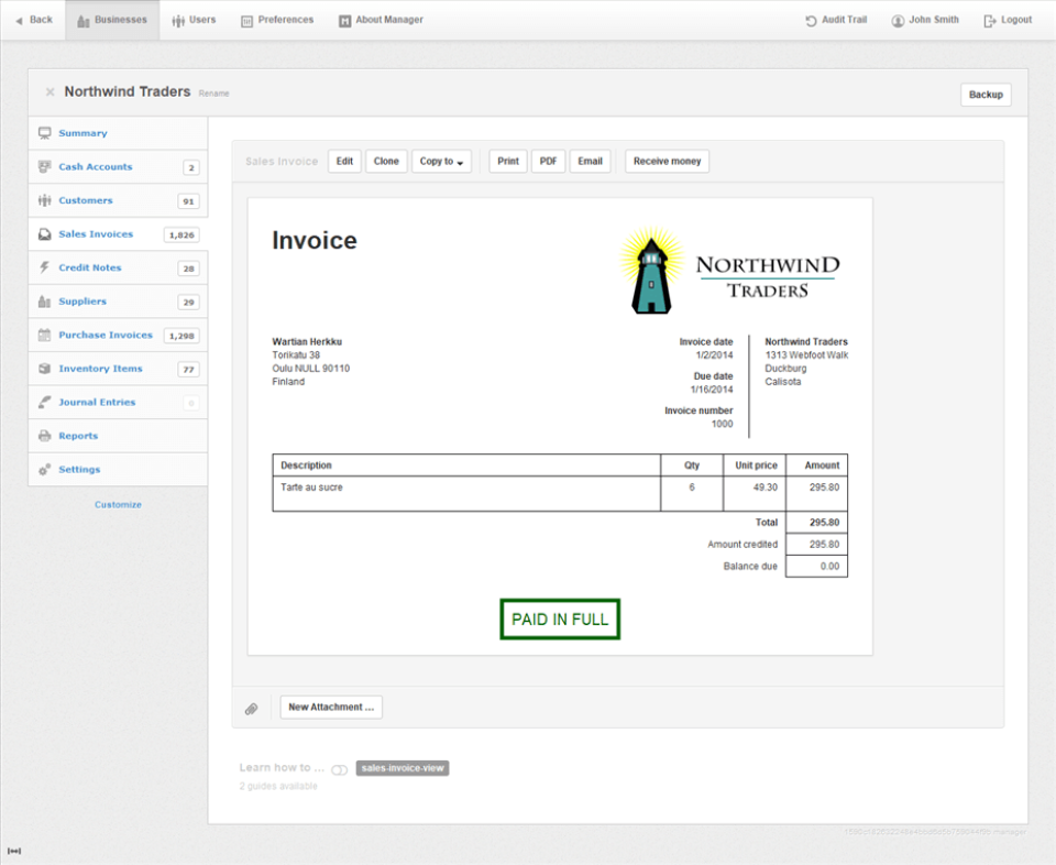 Invoicing Example