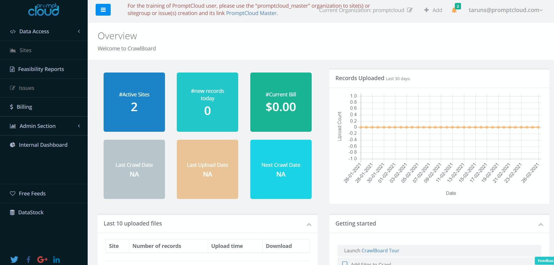 PromptCloud screenshot