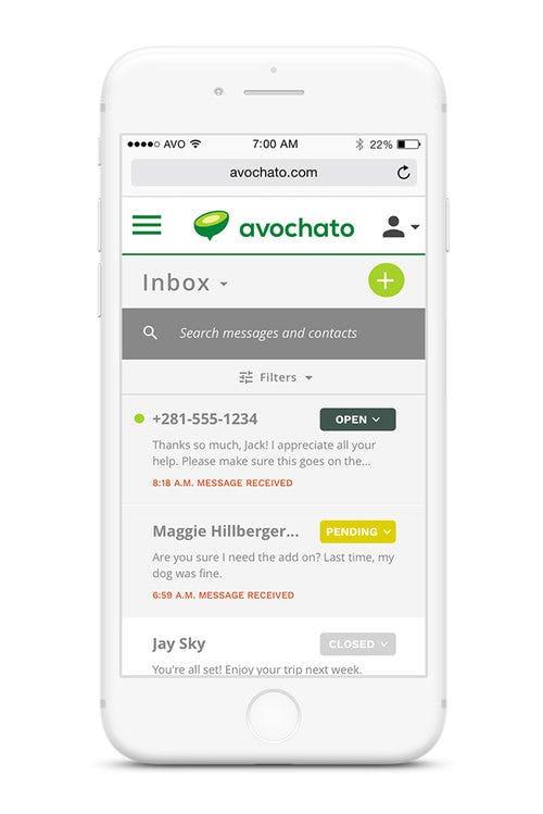 Avochato Software - Mobile view