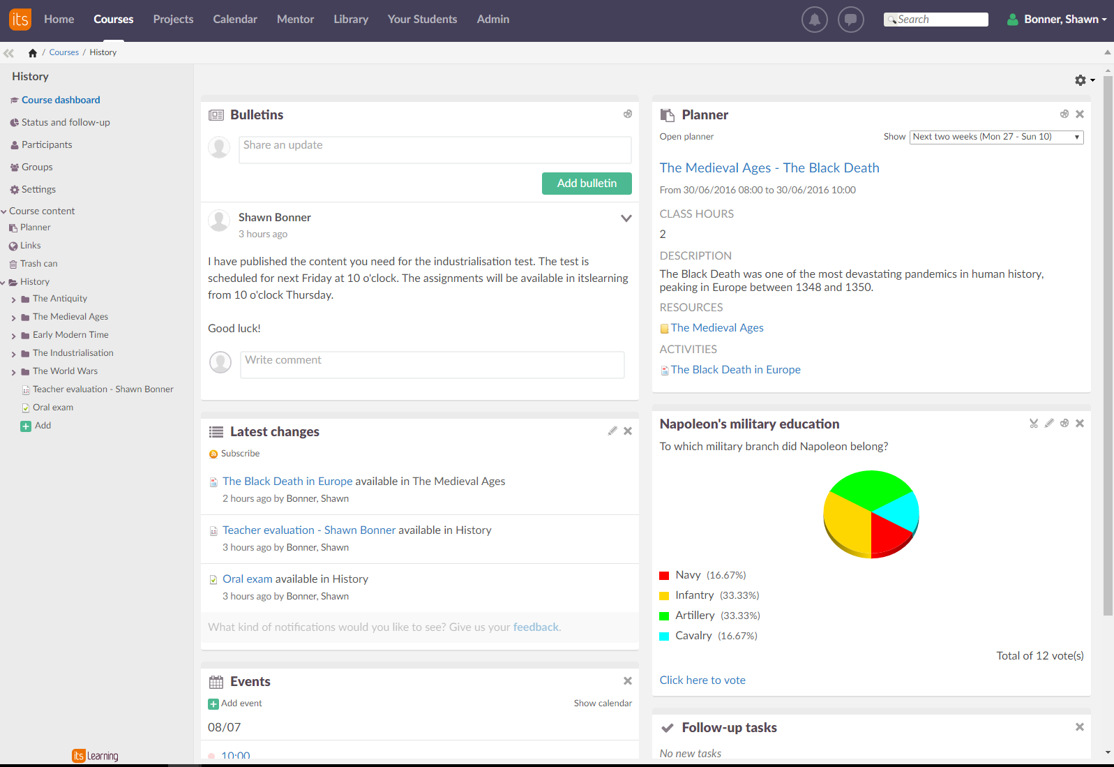 itslearning course dashboard