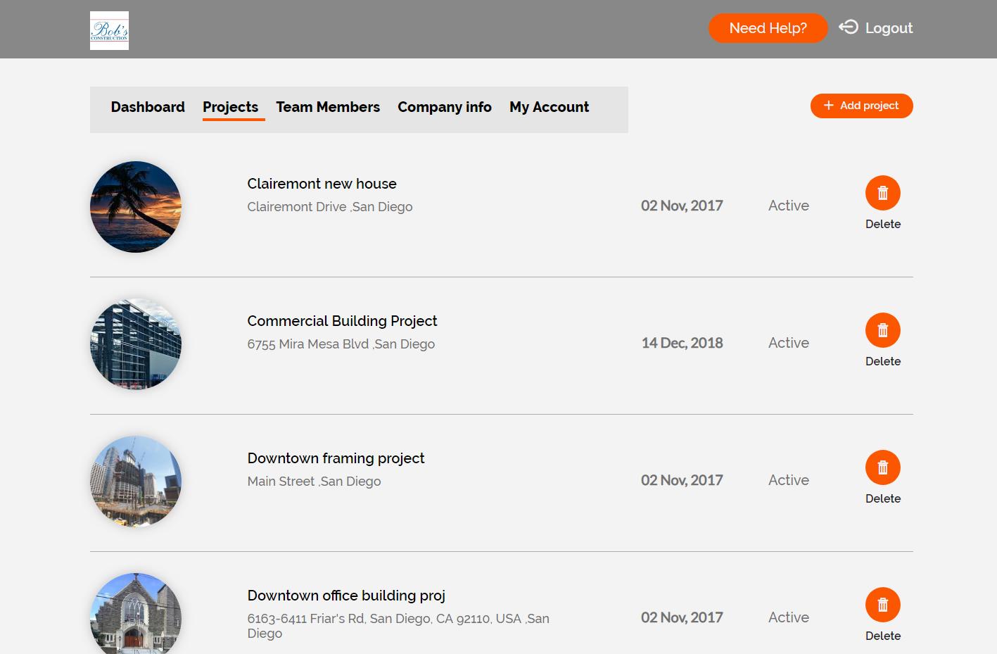 CDR Software - Desktop project list