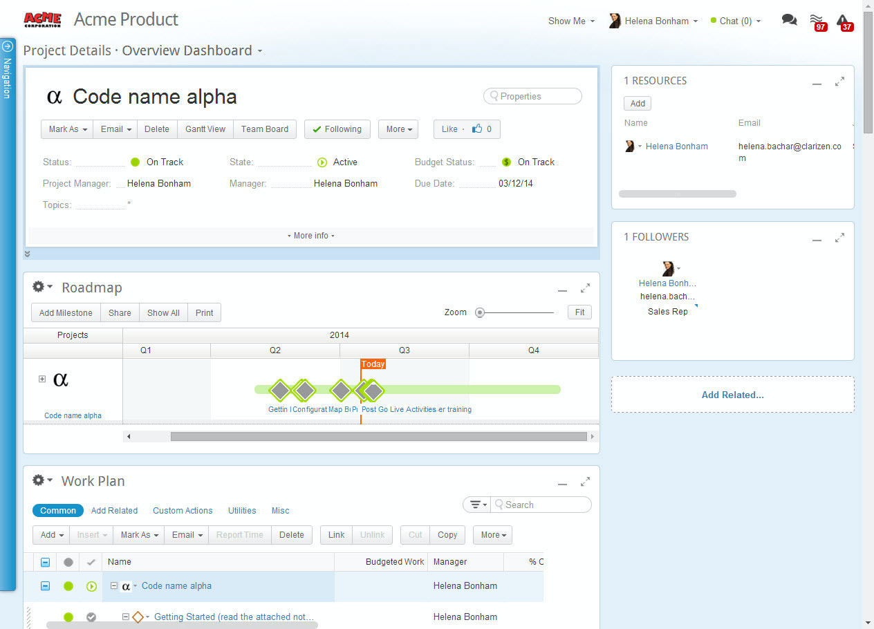 Use the overview dashboard to understand enterprise project plans at a glance