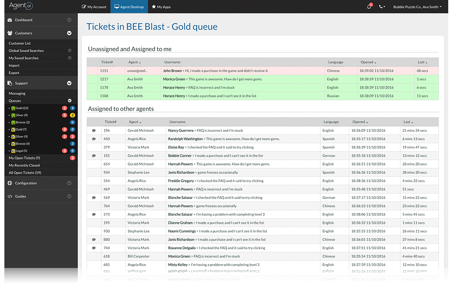 View assigned tickets with agent dashboard
