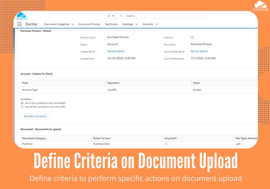 Define criteria on document upload