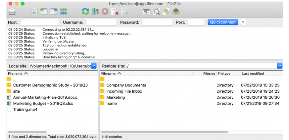 Files.com connecting files to website screenshot