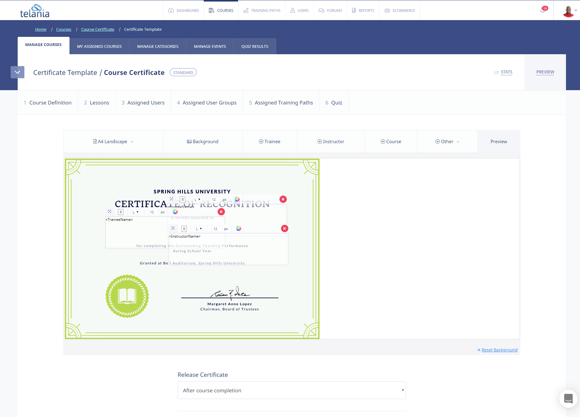 eLeaP screenshot: Upload beautiful certificates to deliver to your users.