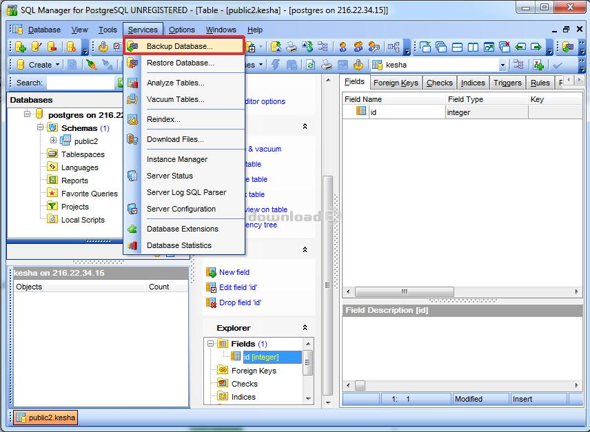 PostgreSQL backup database