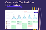 Deputy screenshot: Create new shift structures instantly, drag & drop existing schedules, or use auto-scheduling to create optimized, legally compliant schedules with a single click.  Notify employees about their schedules and changes via email, SMS, or push notifications.