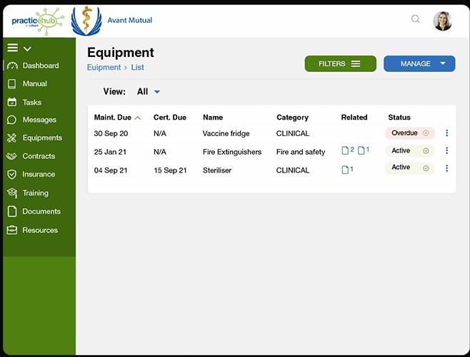 PracticeHub equipment management