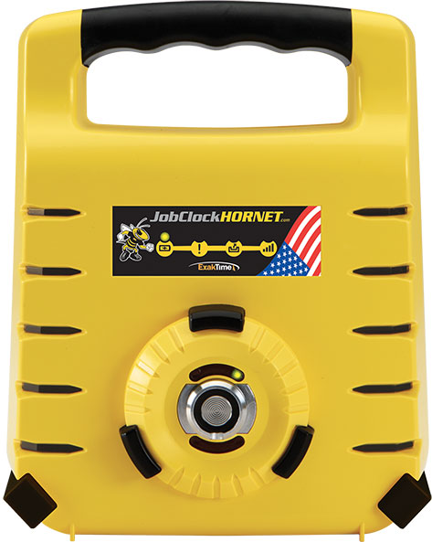 Rugged, durable time clocks such as the JobClock Hornet portable time clock are compatible with ExakTime to capture accurate field data automatically