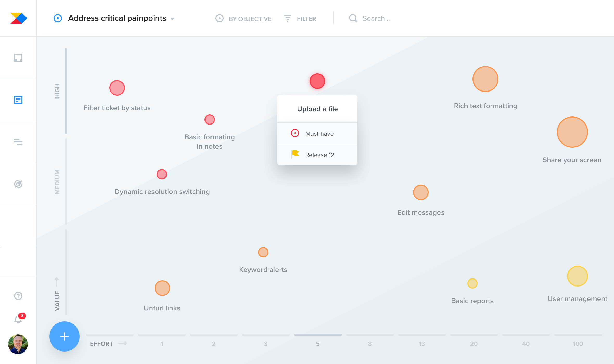 Prioritize features using highly visual interactive drag and drop interfaces like the Prioritization matrix