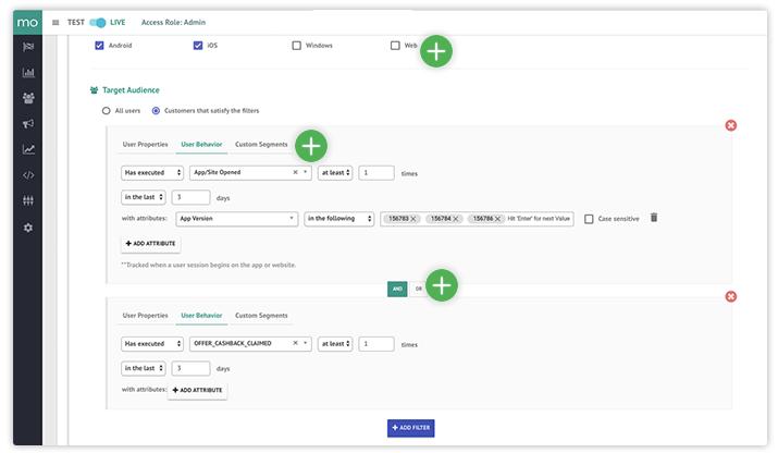 Segment customers & website visitors based on user context, demographics, acquisition, behavior, campaign response, & even offline CRM data