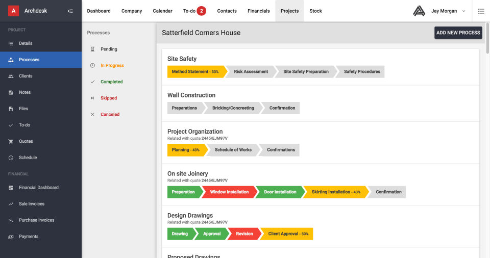 Take control of project progress, with status updates on component process status, completion and cancellations