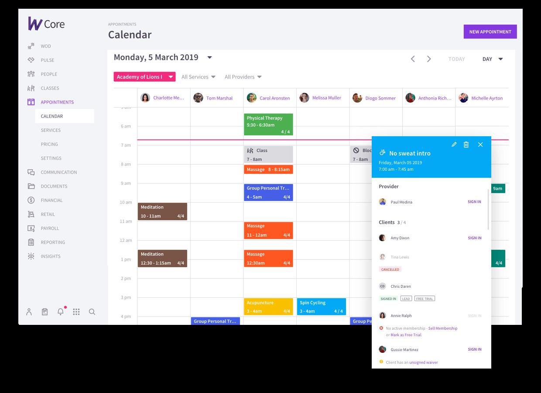 Wodify Core calendar