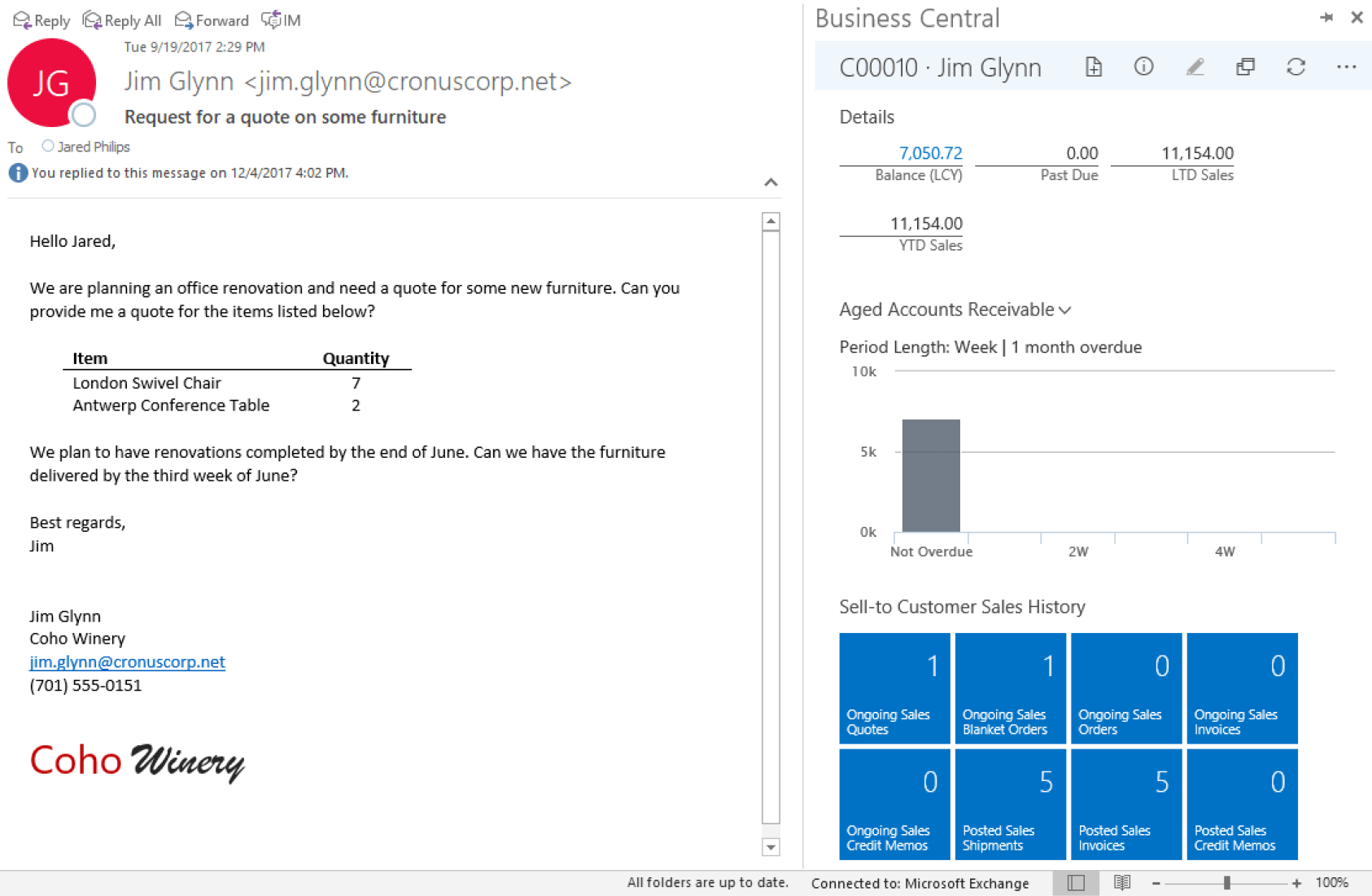 Microsoft Dynamics 365 Business Central customer interaction tracking