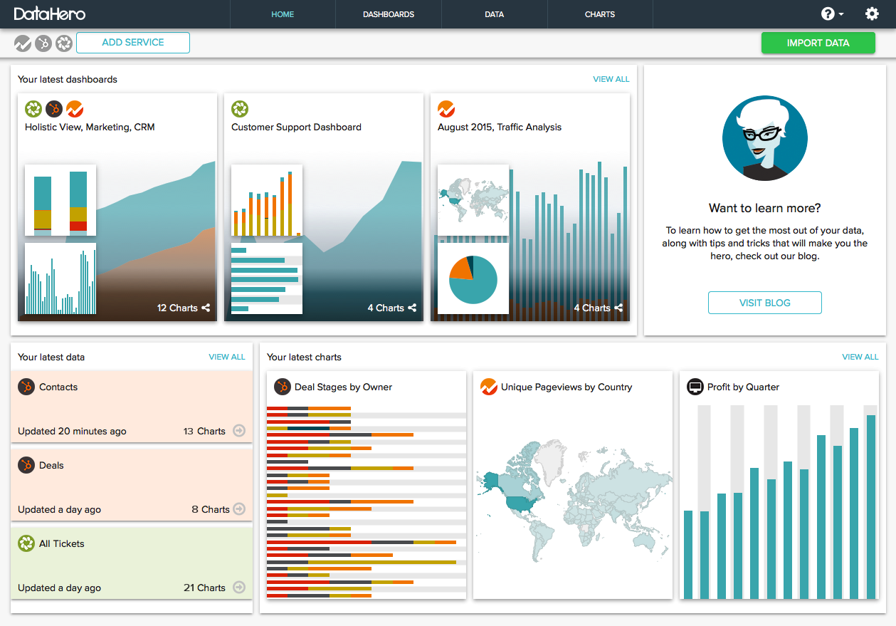 Charts created in DataHero can be assembled into dashboards