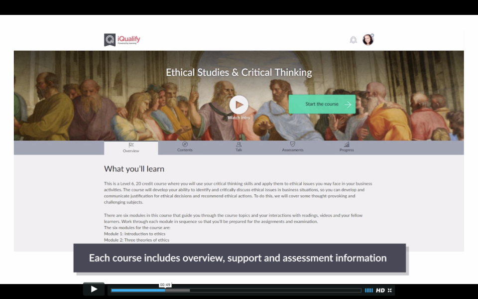 Students can access course content with an overview, videos, images, assessments, progress, and more