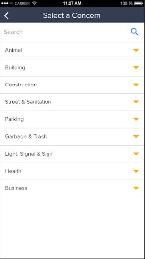 GovPilot concern list screenshot
