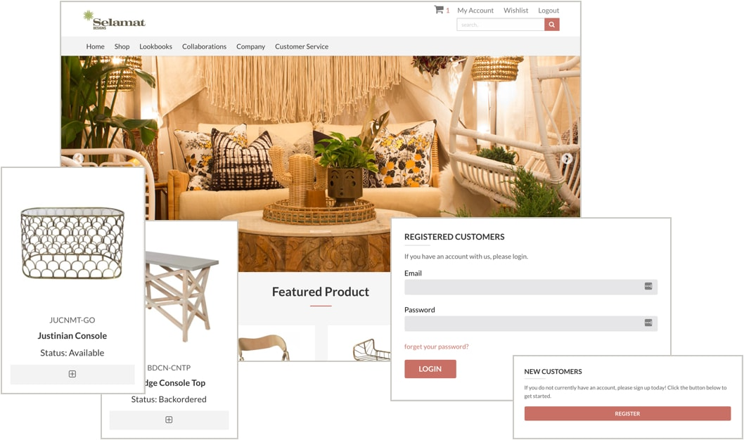 B2B Direct screenshot: Customers can login and place orders, save favorite things, as well as view their complete order history