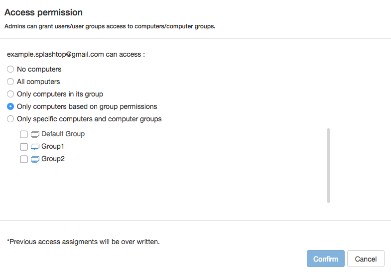 Users and computers can be grouped, allowing administrators to manage permissions in bulk